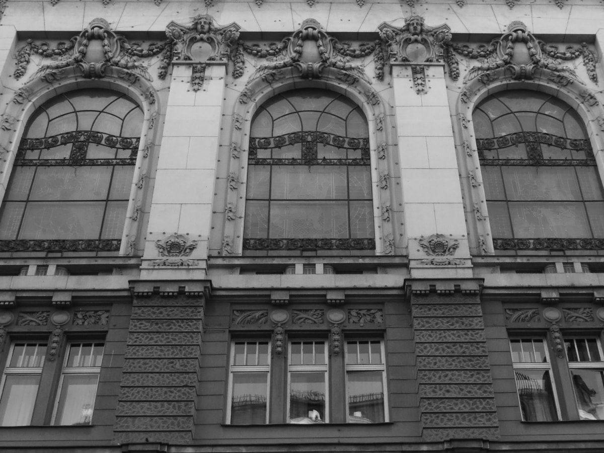 black and white, facade, building, architecture, old, window, city, house