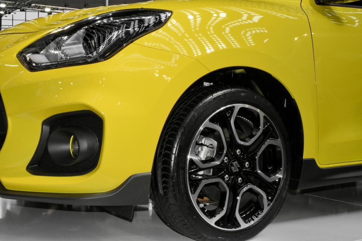 현대, 반사, 세 단, 스포츠 자동차, 노란, 자동차, 휠, 자동차