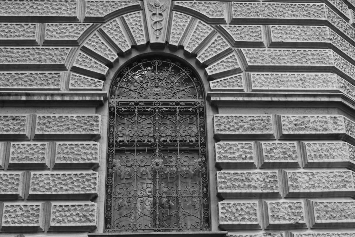 sort og hvid, vindue, arkitektur, bygning, facade, gamle, væg, sten