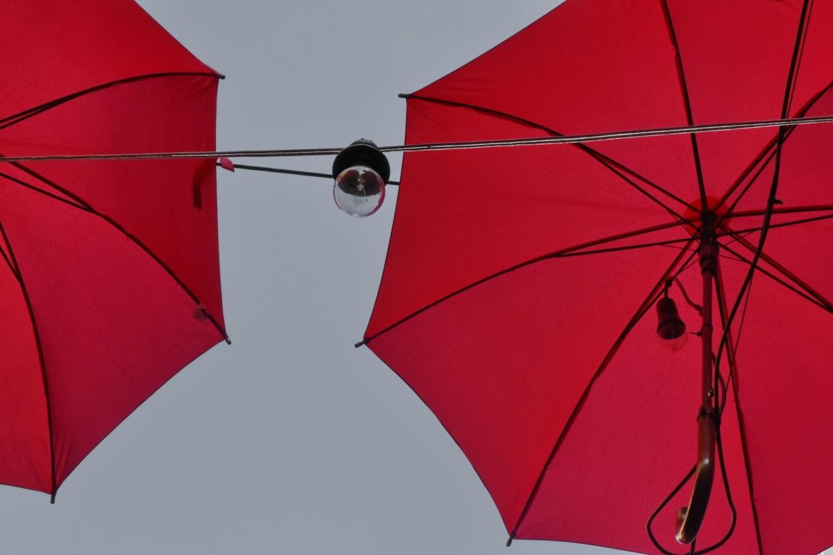 decoração, eletricidade, lâmpada de iluminação, vermelho, guarda-chuva, nylon, vento, tempo