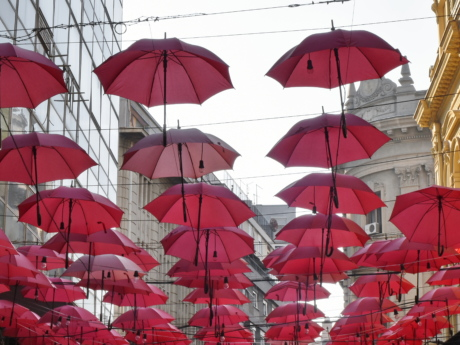 capital city, red, tourist attraction, umbrella, parasol, color, weather, protection