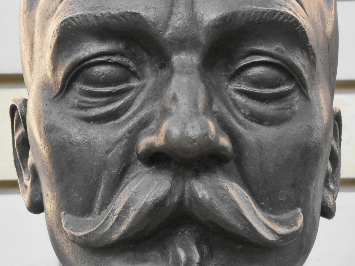 pronssi, støbejern, hoved, overskæg, statue, skulptur, der dækker, religion