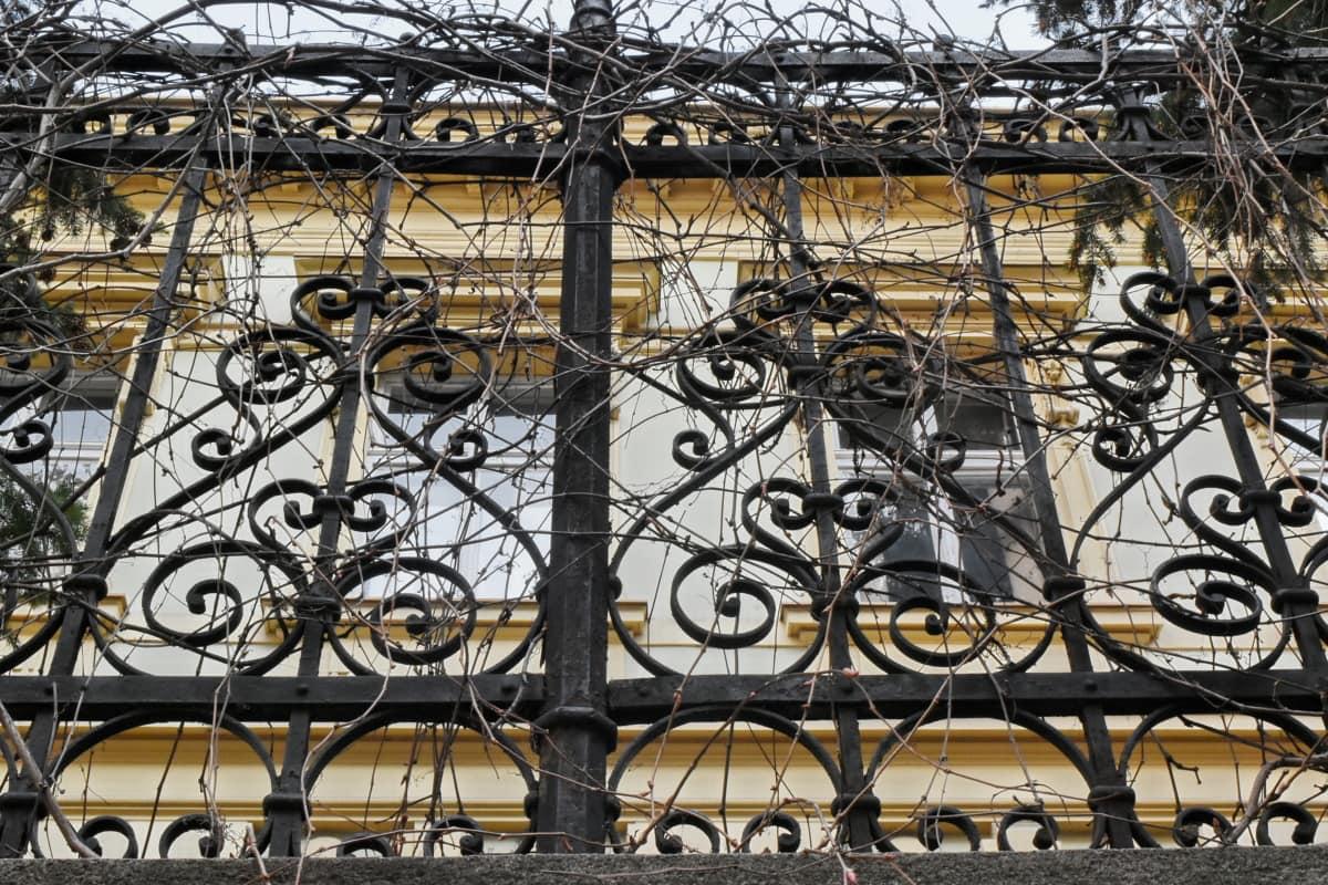 steel, old, iron, fence, art, design, urban, decoration