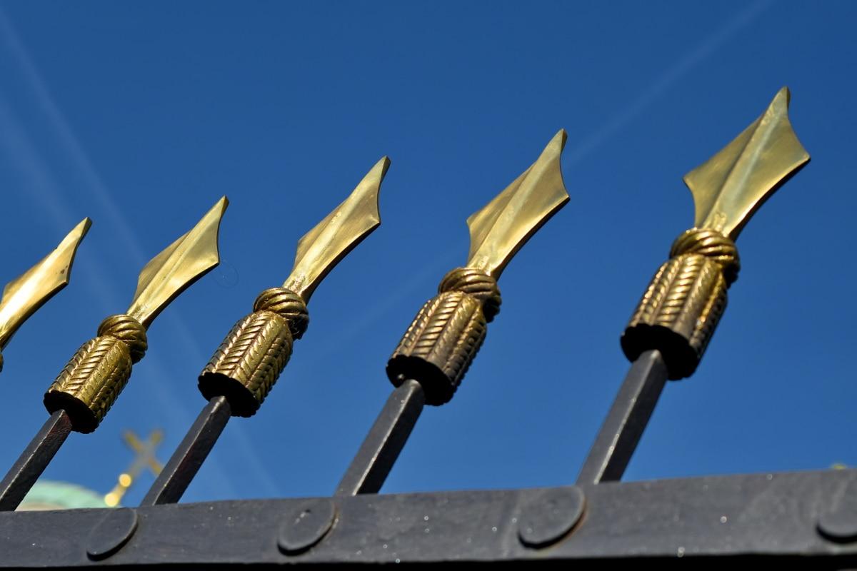 ferro fundido, detail, metal, afiado, ponta de lança, aço, tecnologia, indústria