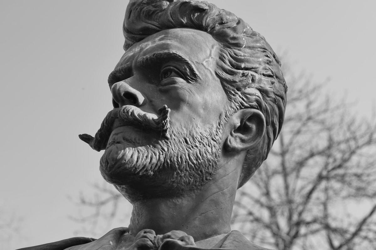 sort og hvid, buste, mand, overskæg, Portræt, statue, skulptur, kunst