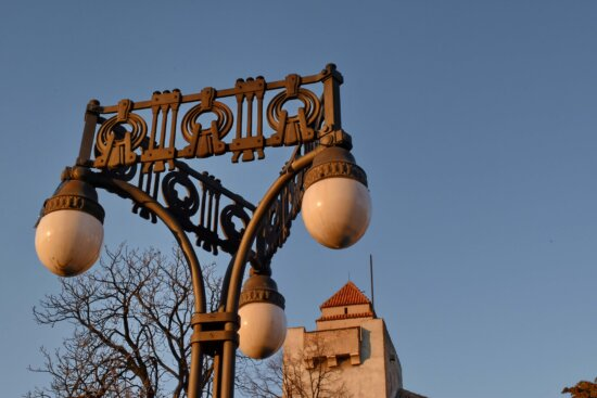 cast iron, fortification, fortress, lamp, sunset, park, architecture, tower