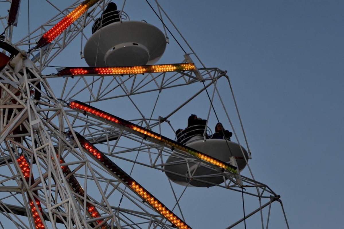 zábavní, kolotoč, zábava, vysoká, mechanismus, jízda, parku, průmysl