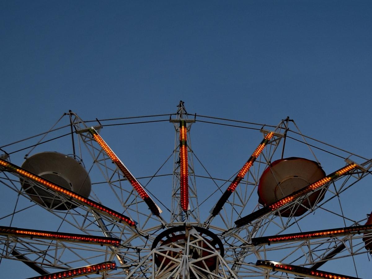 zábavný, súmraku, osvetlenie, mechanizmus, park, vysoká, jazda, koleso