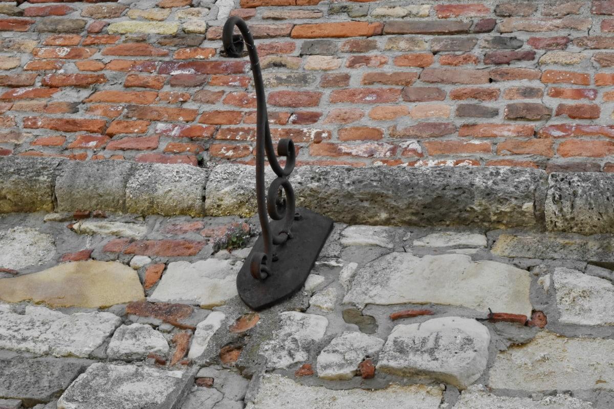 besi cor, dinding, batu, batu bata, lama, semen, beton, kotor