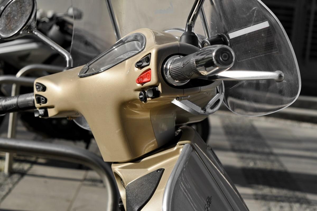 motorcycle, steering wheel, windshield, vehicle, transportation, screen, bike, wheel