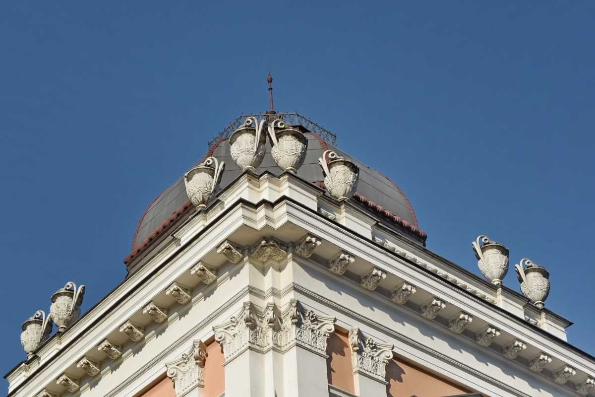 detail, roof, vase, architecture, building, city, outdoors, daylight