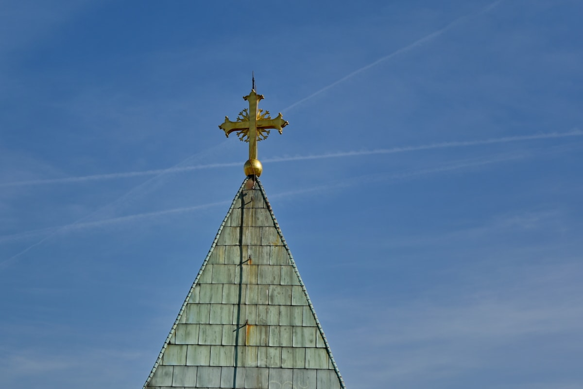 cross, architecture, outdoors, daylight, building, city, religion, landscape