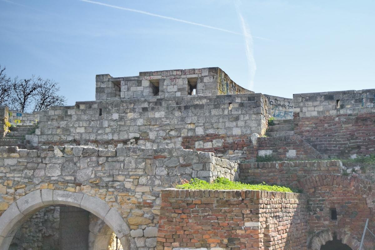 dvorac, drevno, arhitektura, bedem, tvrđava, kamena, zid, stari