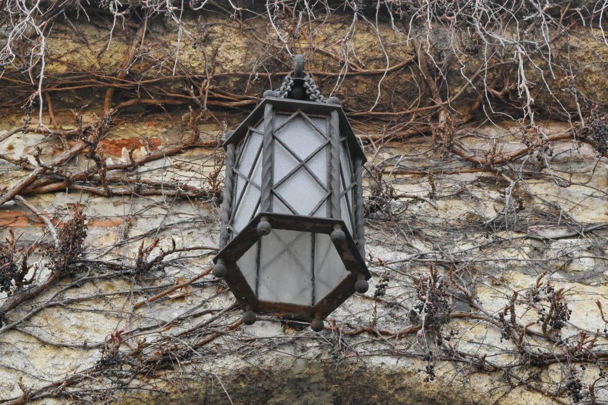 铸铁, 灯笼, 石墙, 窗口, 老, 木材, 树, 性质