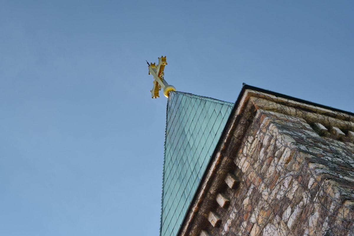úhel, kříž, klášter, perspektiva, zeď, věž, architektura, město