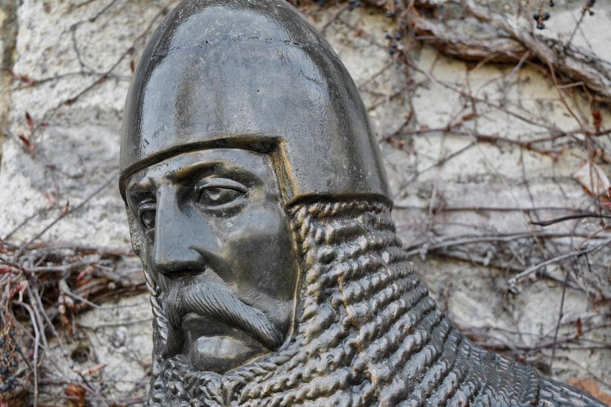armor, medieval, sculpture, statue, old, face, art, portrait