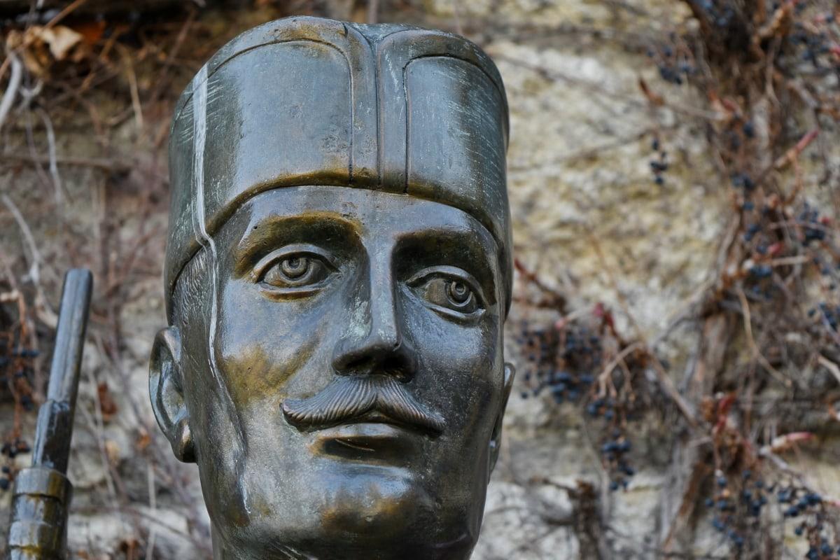 bronze, soldier, sculpture, statue, art, old, culture, face