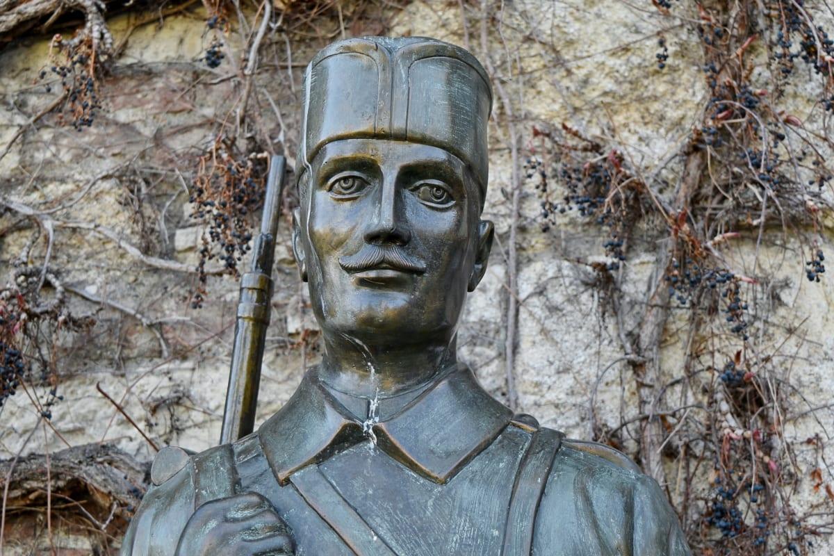 art, bronze, portrait, soldier, sculpture, statue, old, ancient