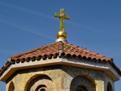 Byzantine, capital city, cross, monastery, religion, architecture, dome, building