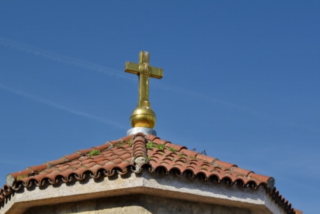 cross, gold, monastery, roof, building, religion, dome, architecture