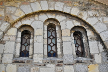 arch, Byzantine, stained glass, old, architecture, building, wall, stone
