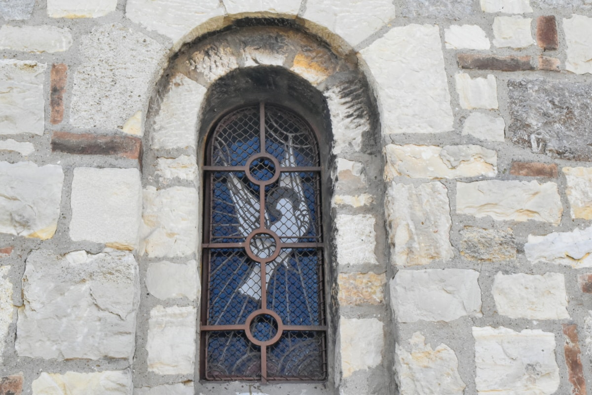 stained glass, old, architecture, stone, wall, brick, building, exterior