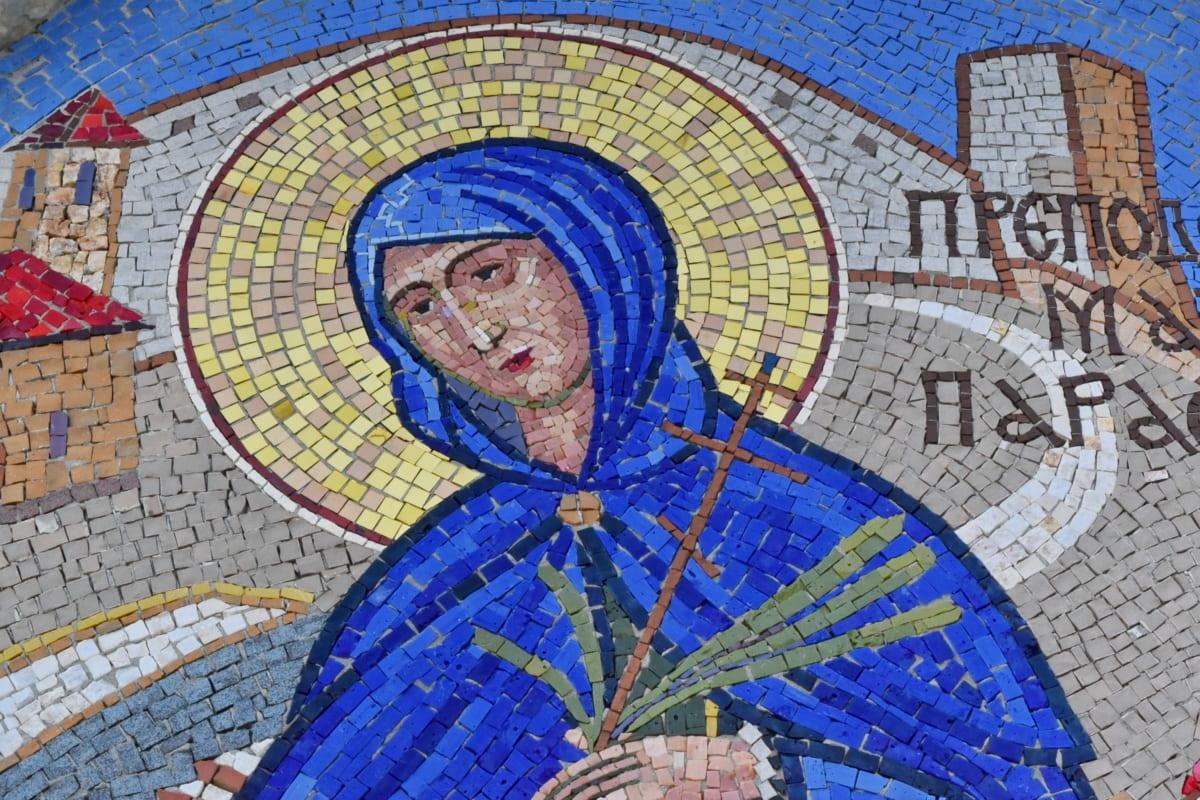 saint, Serbia, mosaic, wall, old, art, architecture, symbol
