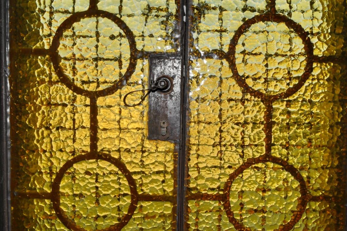 door, doorway, entrance, glass, transparent, yellowish, yellowish brown, old