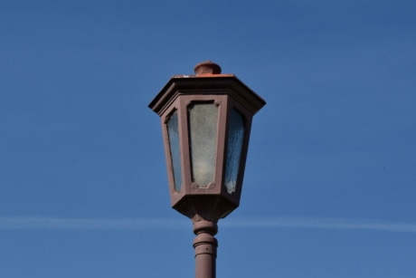 blue sky, cast iron, light, lamp, architecture, outdoors, lantern, street