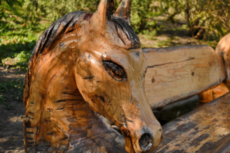 bench, furniture, head, sculpture, wooden, horses, brown, nature
