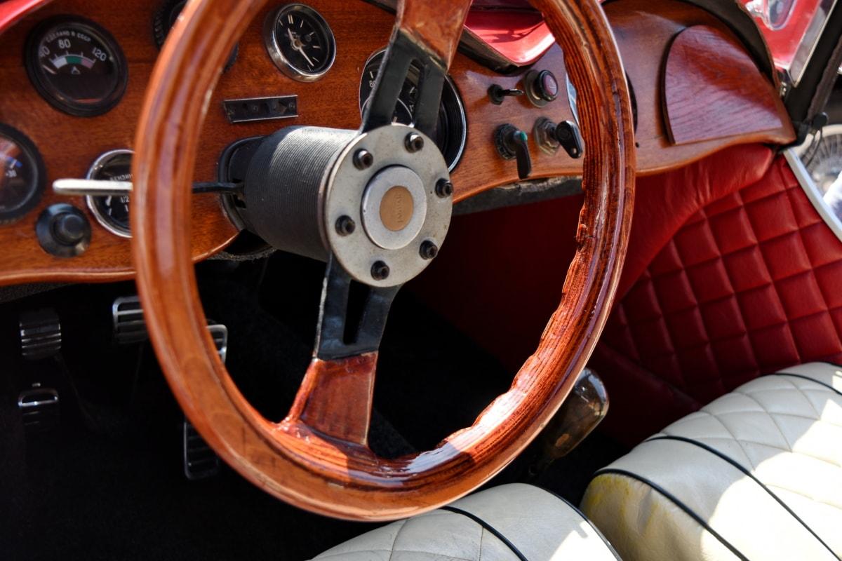 car seat, steering wheel, wooden, mechanism, drive, dashboard, car, control