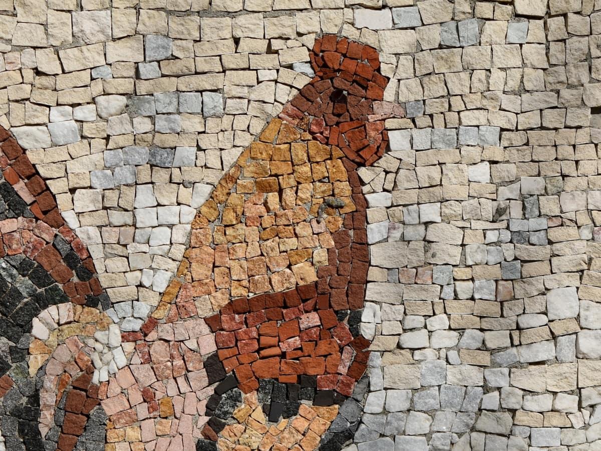 kunst, mosaikk, hane, stein, tekstur, mønster, vegg, murstein