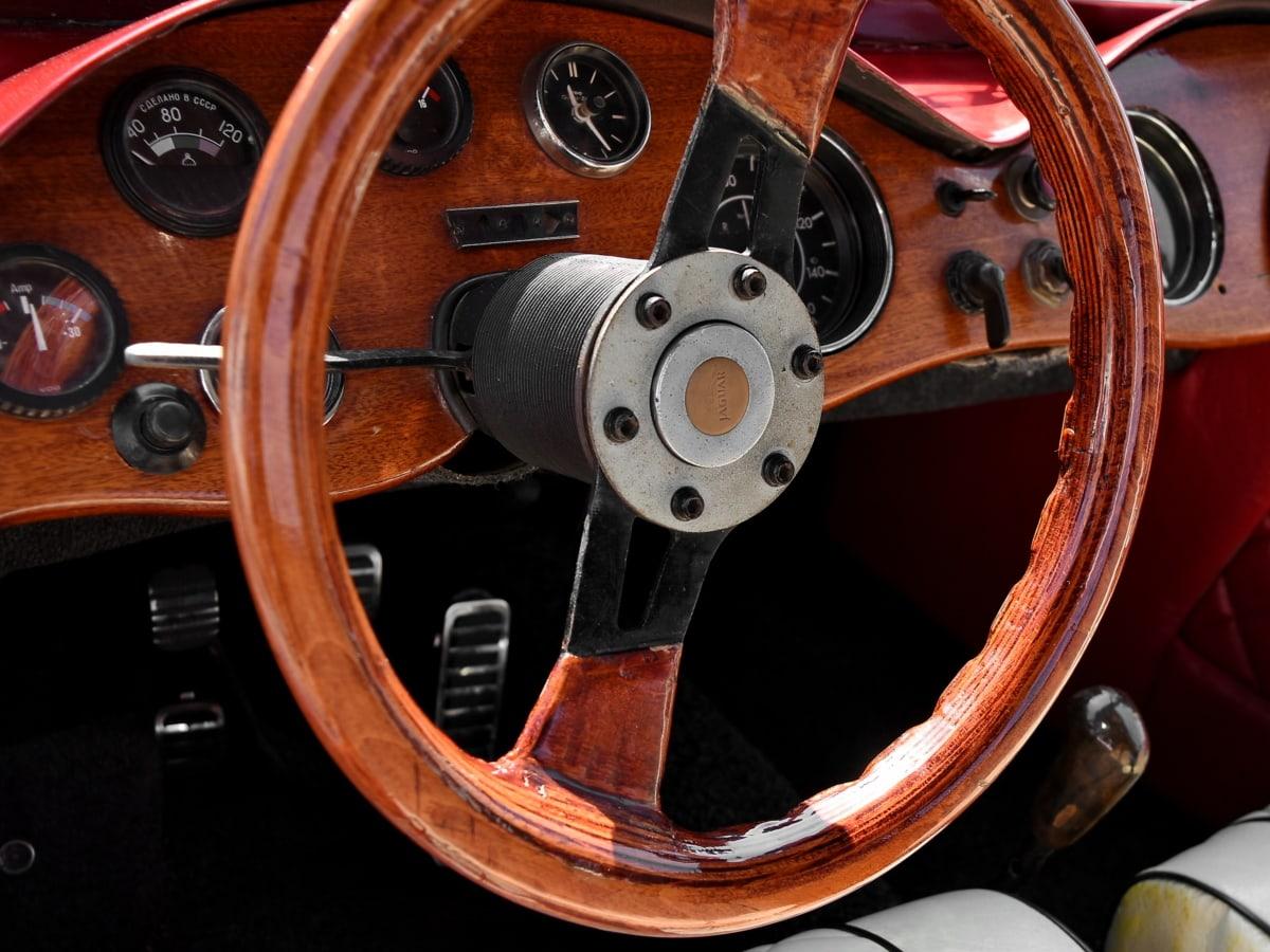 klassikko, træ, instrumentbræt, køretøj, speedometer, mekanisme, bil, rat