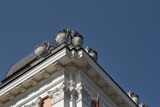 architecture, building, facade, city, sculpture, outdoors, old, roof