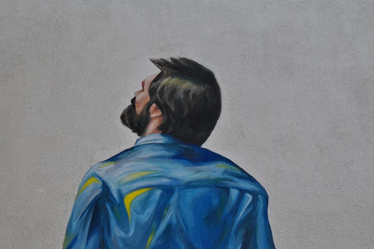 art, graffiti, wall, people, man, portrait, outdoors, daylight