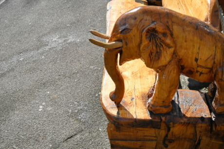 bench, elephant, wooden, carving, art, sculpture, outdoors, statue