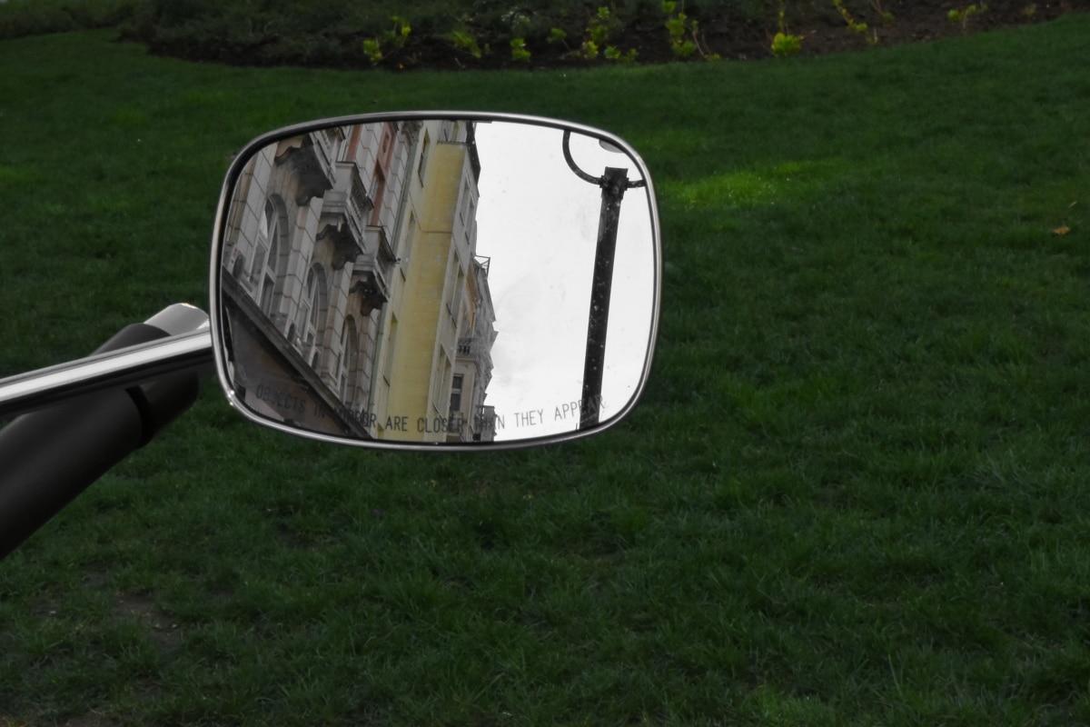 chrome, motorbike, motorcycle, reflector, mirror, grass, landscape, park