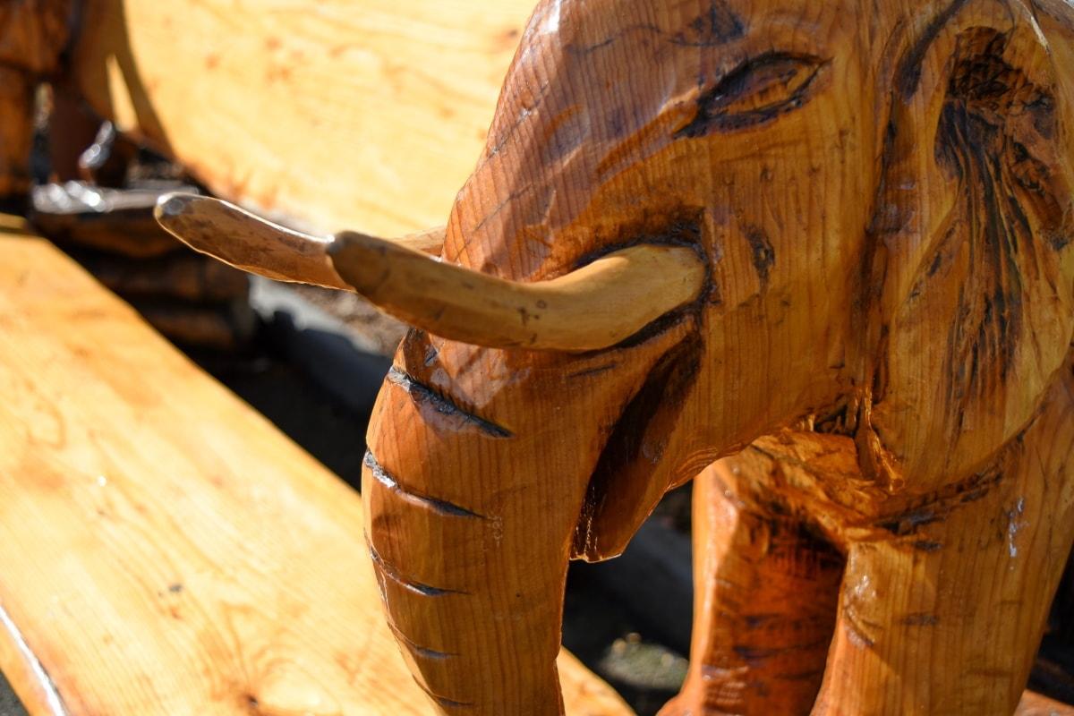 bench, carving, elephant, furniture, head, sculpture, wood, handmade
