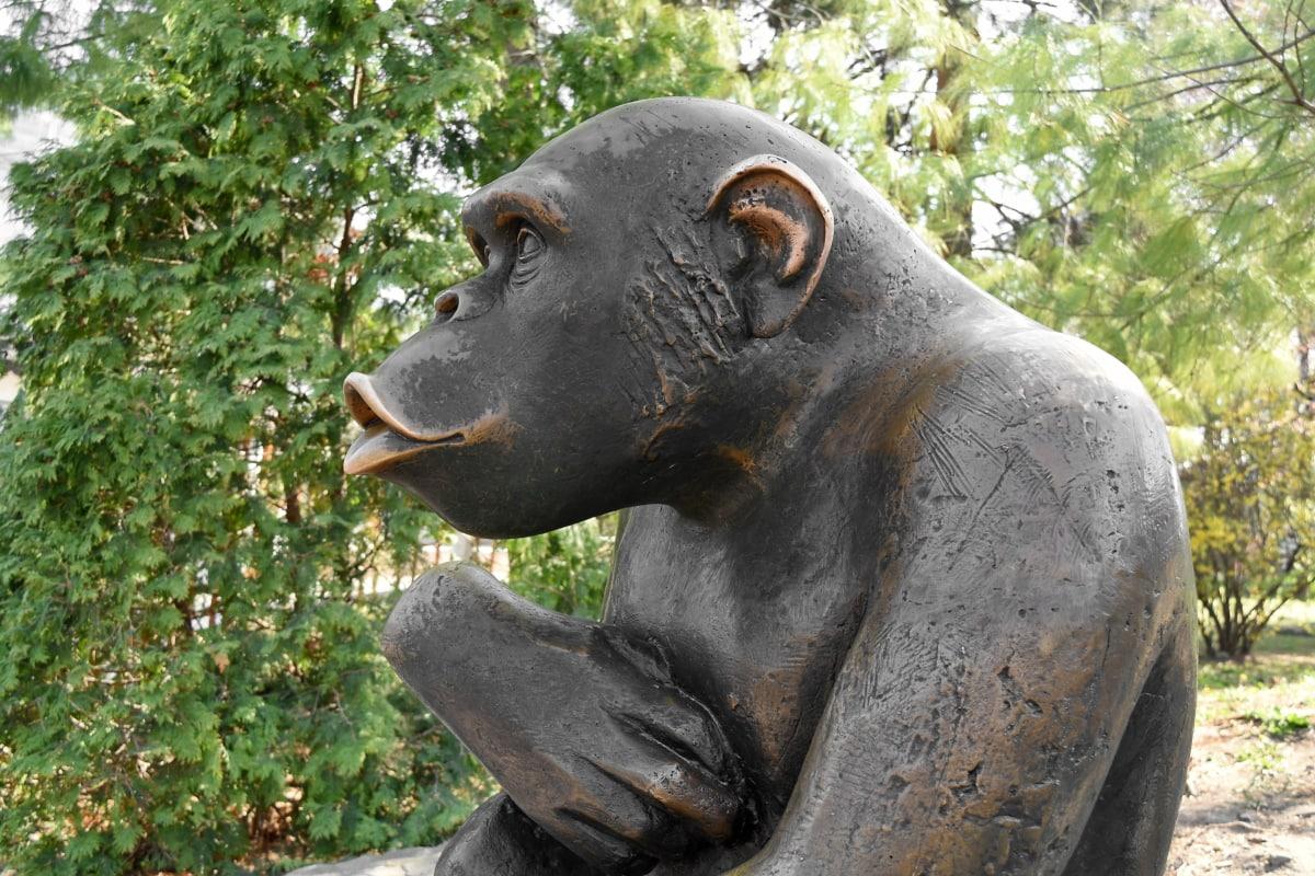 art, bronze, cast iron, monkey, nature, sculpture, outdoors, park