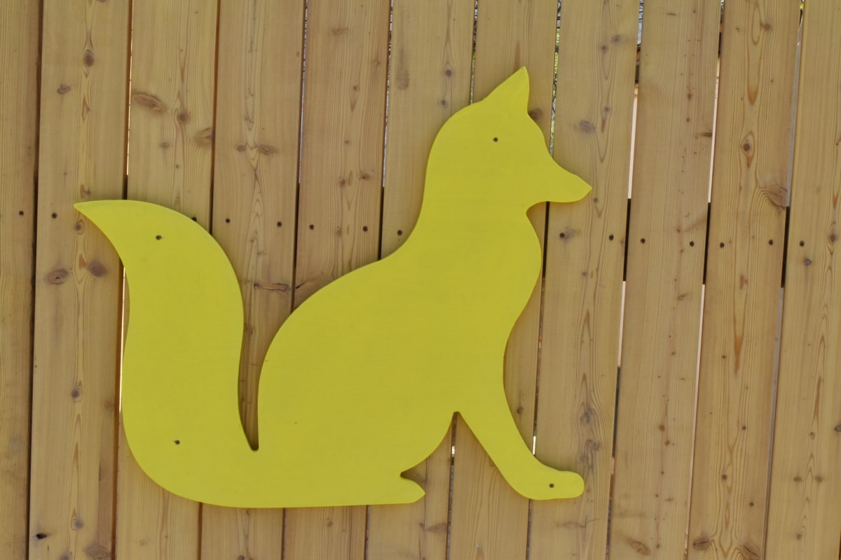decoration, fox, object, wood, wooden, wall, furniture, rough