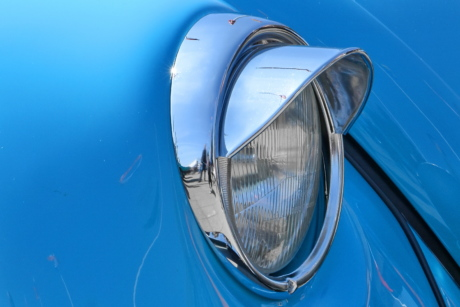 headlight, vehicle, car, reflection, light, classic, chrome, outdoors