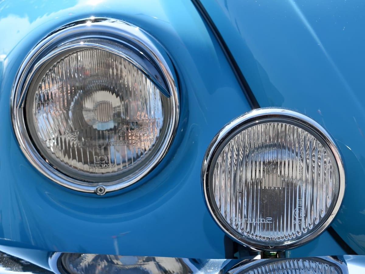 reflector, chrome, classic, vehicle, headlight, car, front, automotive