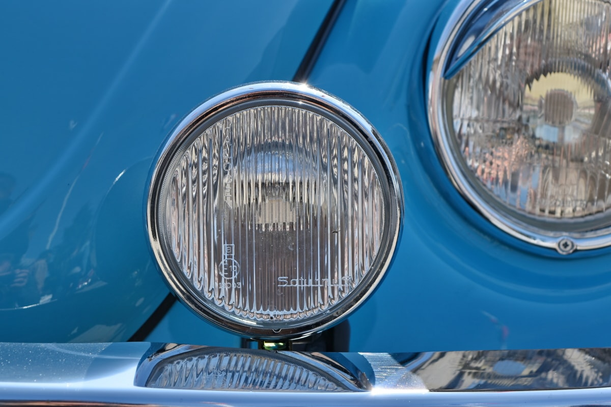 chrome, car, headlight, classic, light, vehicle, lamp, front