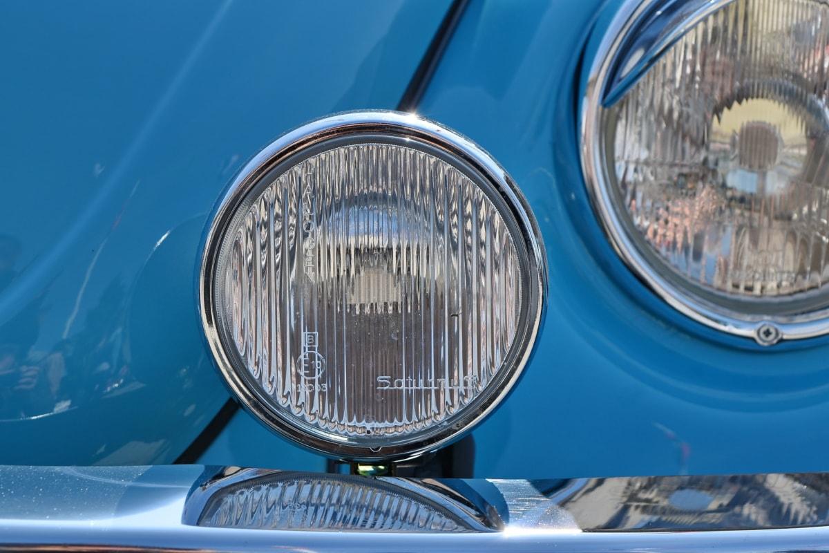 kromi, bil, forlygte, klassikko, lys, køretøj, lampe, forsiden
