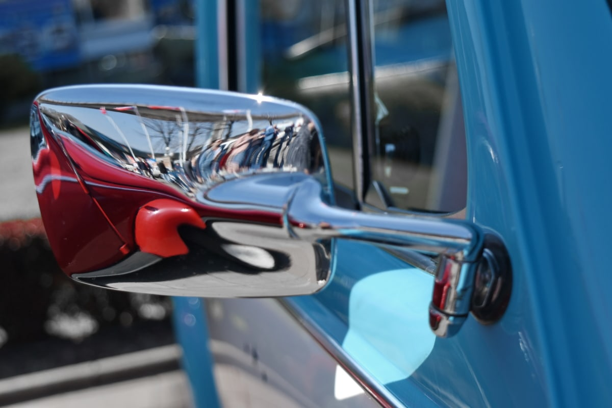 chrome, mirror, reflection, car, vehicle, street, wheel, outdoors