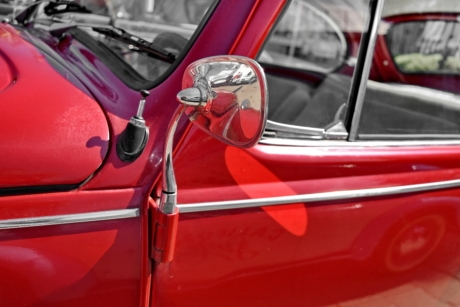 metallic, mirror, red, vehicle, chrome, car, classic, automotive
