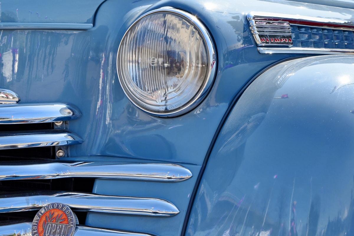 blå, automobil, bil, transport, forlygte, køretøj, kromi, kørsel