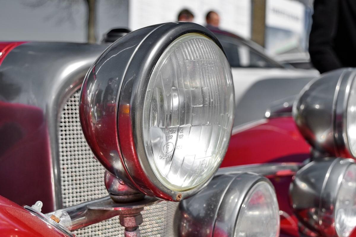 chroom, metalen, schijnend, voertuig, auto, koplamp, industrie, staal