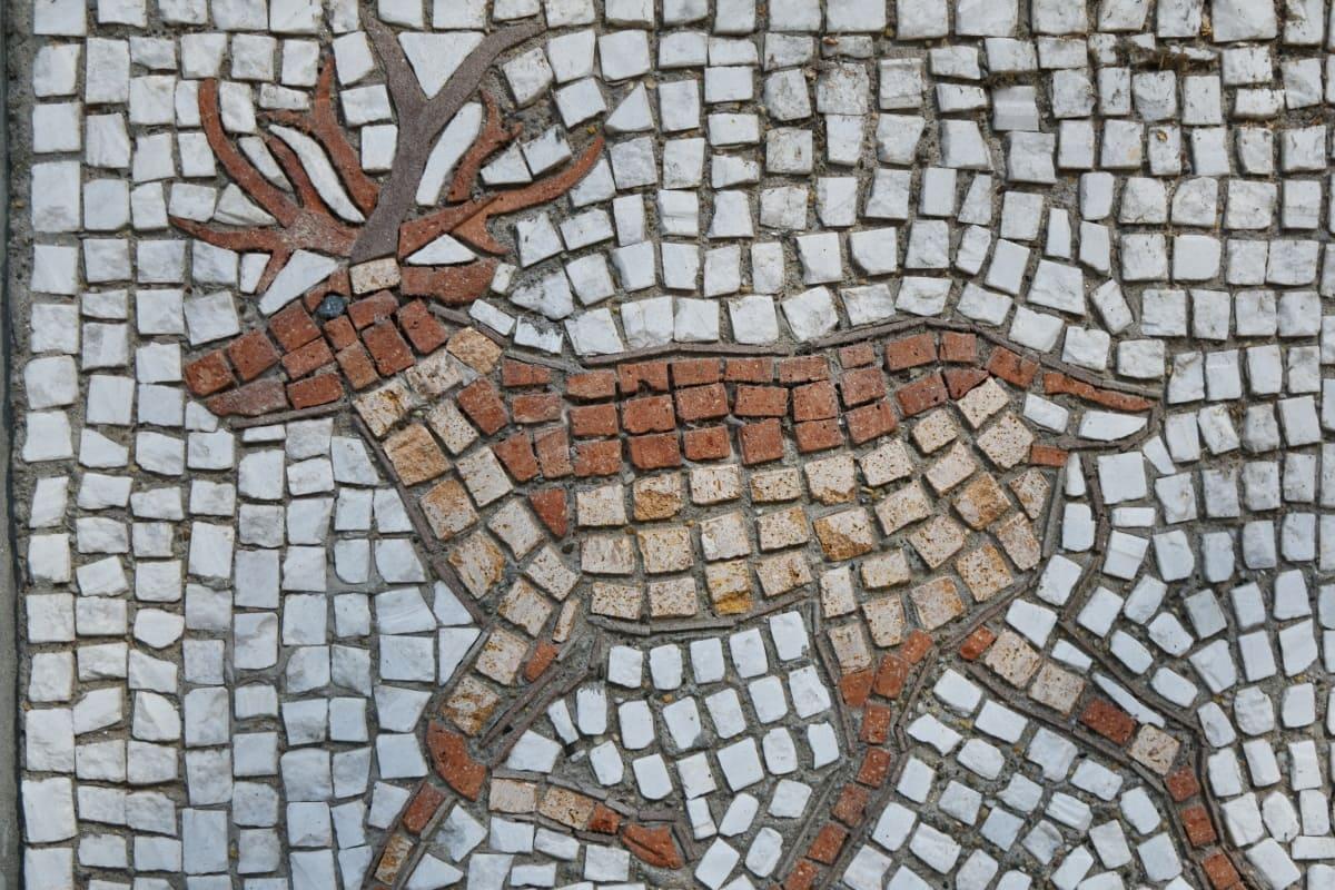 kunstneriske, rådyr, mosaik, væg, tekstur, mønster, gamle, kunst