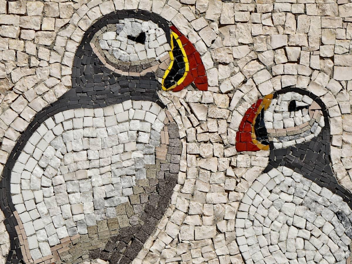 umění, mozaika, tučňák, povrch, vzor, kámen, staré, zeď